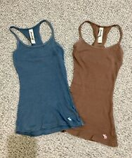 Abercrombie & Fitch Kids Girls Size Medium Blue & Brown Racerback TWO Tank Tops