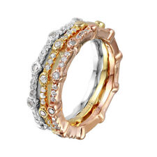 925 STERLING SILVER MULTI-COLOR STACKABLE  RING W/ LAB DIAMONDS / SZ 5 TO 9