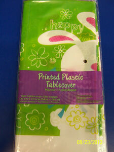 Hoppy Bunny Easter Rabbit White Cute Holiday Party Decoration Plastic Tablecover