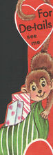 Vintage DOUBL GLO UnUsed Childs Valentines Card Monkey w/Bag of Loot  ForDetails