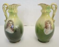 "Pair of Antique Bavaria Transfer Porcelain Portrait 6"" Vases"