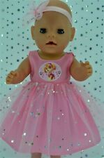 """Play n Wear Dolls Clothes To Fit 17"""" Baby Born PINK SEQUIN DRESS~HEADBAND"""