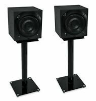 Mount-It! Floor Speaker Satellite Speakers System Stands Glass & Aluminum Black