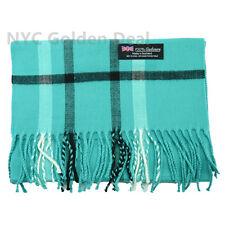 Women 100% CASHMERE Scarf tartan TEAL Plaid Design Soft MADE IN SCOTLAND