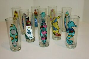 """Set 11, 4"""" Summer & Fathers Days Tequila Shot Glass, Lighthouse, Seahorse, Surf"""