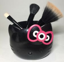 Rare Hello Kitty Mac Black Brush Holder & 3 Brush Set
