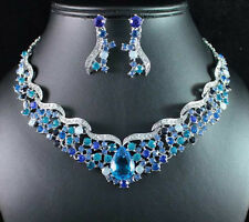 FANTASTIC BLUE AUSTRIAN RHINESTONE CRYSTAL NECKLACE EARRINGS SET BRIDAL N1721B