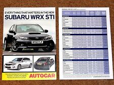 2010-11 SUBARU IMPREZA WRX STI Press Brochure & Subaru Range Price List