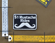 "Ricamata / Embroidered Patch ""Mustache Rides"" Black with VELCRO® brand hook"