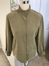 Mac & Jac Vintage Inspired Khaki Jacket Blazer Fully Lined Nehru Collar Size 10