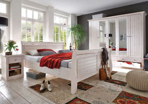 Steens Monaco Schlafzimmer 4 tlg. Landhausstil Massivholz Kiefer White-Wash