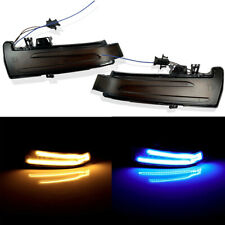 Blue Sequential Side Mirror LED Smoked Turn Signal Amber For 10-15 W204 C300