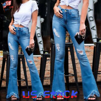 Women Ripped Frayed High Waist Flare Jeans Casual Pants Bell Bottom Trousers US