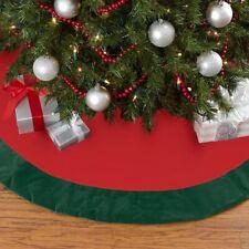 Christmas Tree Skirt, red and green velvet, 90cm