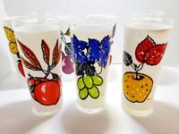 Set of 7 L. Elliot 1950's Fruit Glass Tumblers Vintage