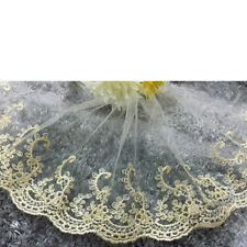 1 Yard Lace Trim Embroidered Tulle Edge Mesh Net Wedding Sewing Crafts DIY Gold