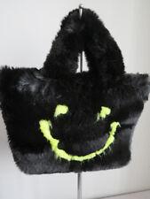 Faux  fur hand bag/ casual bag black bag art/craft bag very soft and warm
