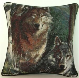 Wolf - Two Wolves On Nightly Hunt by Kevin Daniel, Tapestry Pillow New