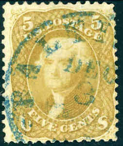 1861 5¢ OLIVE YELLOW #67b  BALTIMORE TOWN POSTMARK FINE APPEAR. CAT $4750 CERT