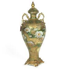1891-1911 Nippon Moriage Porcelain Vase Water Lilies w/ Maple Leaf Hallmark