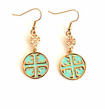 Mint Green and Gold Toned Antique Cross Dangle Hook Earrings - Gift Boxed