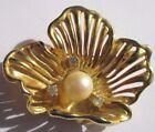 broche bijou vintage top qualité fleur couleur or relief cristal perle 1612