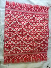 "Miniature Antique Woven Soft Red & Cream Coverlet ~ 11"" X 15"""