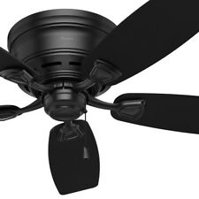 "48"" Hunter Fan Low Profile Outdoor Ceiling Fan in Matte Black, 5 Blade"