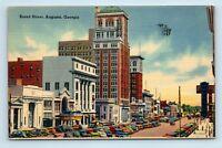 Augusta, GA - c1940s BROAD STREET SCENE - OLD CARS - POSTCARD - G5