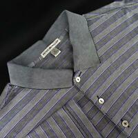 Mens Peter Millar Crown Gray Striped Athletic Golf Polo Shirt Size XL Casual