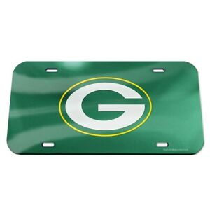 Green Bay Packers Crystal Mirror License Plate, Green