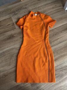 House Of Cb London Orange Bodycon Dress Size S 6- 8