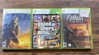 Lot Of 3 Xbox 360 Games Halo3, Grand Theft Auto 5, & Fallout Nee Vegas