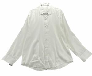 Bugatchi Uomo Men's Long Sleeved Contrast Cuff Dress Shirt Size L Large Cotton