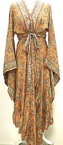 Boho hippie 100% SILK Beach Kimono Cover Up Wrap Long ORANGE RED One size