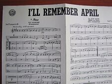 I'll Remember April - 1944 sheet music - 2nd Trumpet B flat - Don Raye