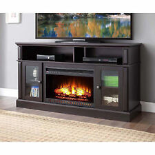 """TV Stand Media Fireplace 70"""" Entertainment Storage Wood Console Electric Heater"""