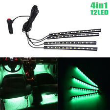 4X 12LED Green Cigarette Lighter Car Interior Floor Atmosphere Light Strip Lamp