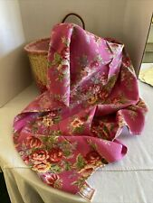 APRIL CORNELL 2000 PINK ROSE FLORAL COTTON RED VIOLETS 35 X 55 TABLECLOTH 2 Of 2