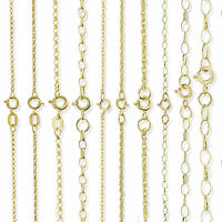 9CT GOLD 16 18 20 22 24 28 OVAL ROUND DIAM CUT BELCHER ROPE POW CHAIN NECKLACE