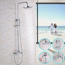 Chrome Rain Shower Faucet 8-inch Rain Head Brass Hand Sprayer Dual Crass Handles