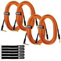 "20 ft 1/4"" Male Instrument Guitar Bass Amp Orange Tweed Gold Tip Cable Cord 4 Pk"