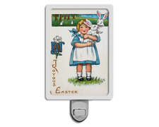 Joyous Easter Vintage Style Girl with Bunny Rabbit Spring Night Light