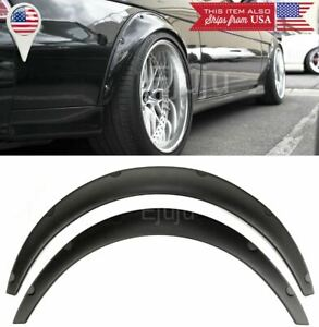 "2 Pcs 2.75"" Wide ABS Plastic Black Flexible Fender Flares Extension For Nissan"