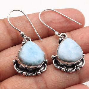 """Natural Larimar Sterling Silver Plated Earrings 1.5"""" Gemstone Earrings W1134"""
