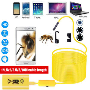 8LED WiFi 1-10M Endoscope Borescope Inspection 1200P Camera IP68 For iOS Android