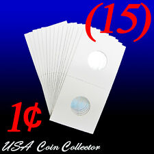 (15) Penny Size 2x2 Mylar Cardboard Coin Flips for Storage | 1 Cent Paper Holder