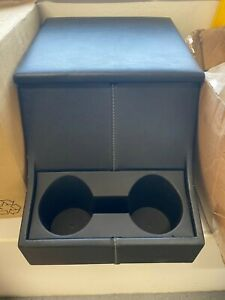 Land Rover Defender Cubby Box - Black with Cup Holders and White Stitching