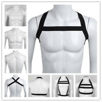 Mens Elastic Restrain Body Chest Nylon Harness Muscle Clubwear Backless Costume