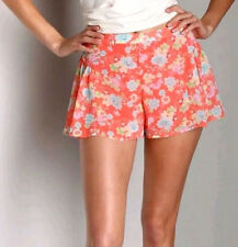 Free People Floral Chiffon Ruffle Flutter High Waist Shorts Coral Pink S 6